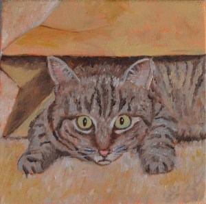 """The Cat Out of the Bag"" original fine art by Robert Frankis"