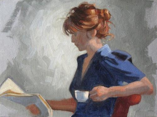 """Reading the newspaper 9x12 oil"" original fine art by Claudia Hammer"