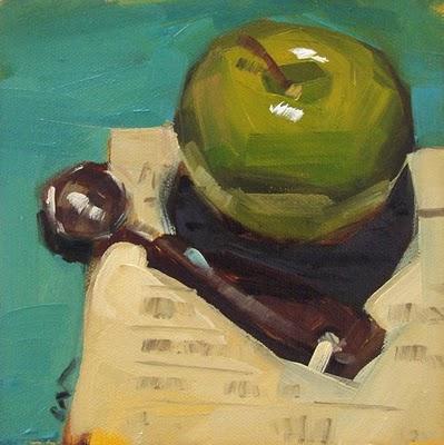 """Apple & Spoon"" original fine art by Carol Marine"