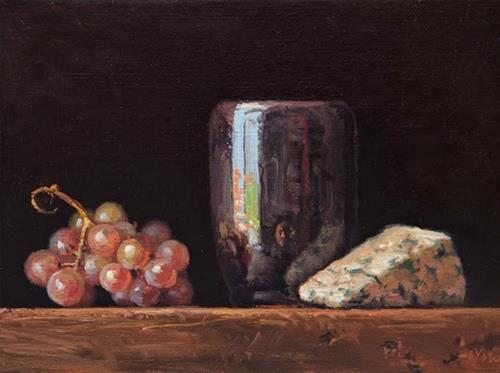 """""""Still Life with Moscato Grapes and Roquefort  (+ Sedona thoughts)"""" original fine art by Abbey Ryan"""