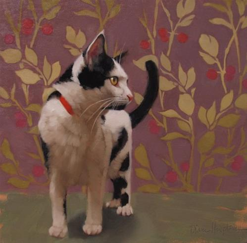 """Mulberry Cat and Gallery + joins 78th ST Studios"" original fine art by Diane Hoeptner"