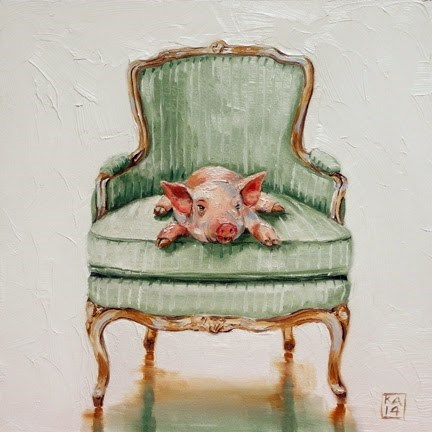 """this little piggy stayed home"" original fine art by Kimberly Applegate"