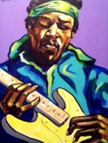 """Jimi Hendrix II"" original fine art by Stuart Glazer"