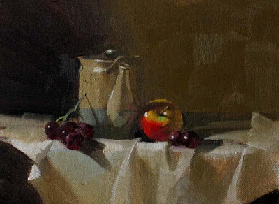 """Fruit and Tea --- Click Here to Buy Now $119.99"" original fine art by Qiang Huang"