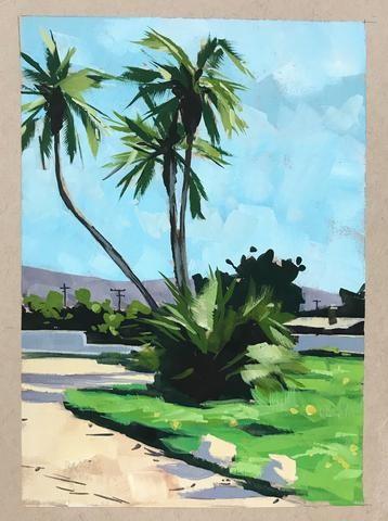 """""""Curvy Palms"""" original fine art by Sharon Schock"""