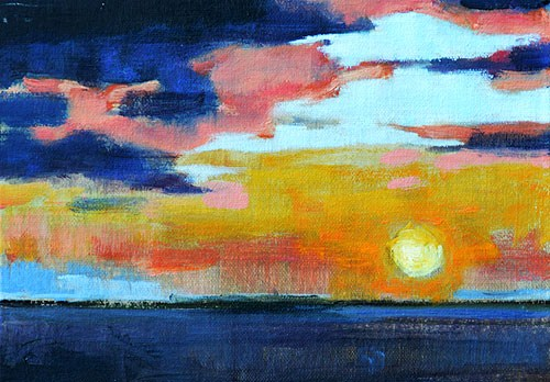 """""""Sunset on the Pacific"""" original fine art by Kevin Inman"""
