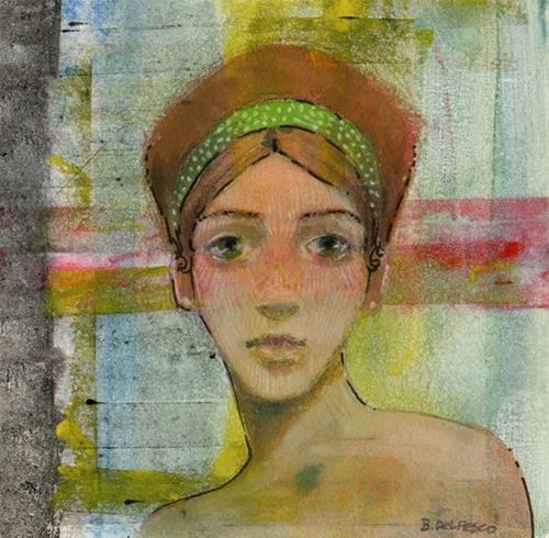 """""""Mixed Media: Ginger Hair (gelli plate #printmaking)"""" original fine art by Belinda Del Pesco"""