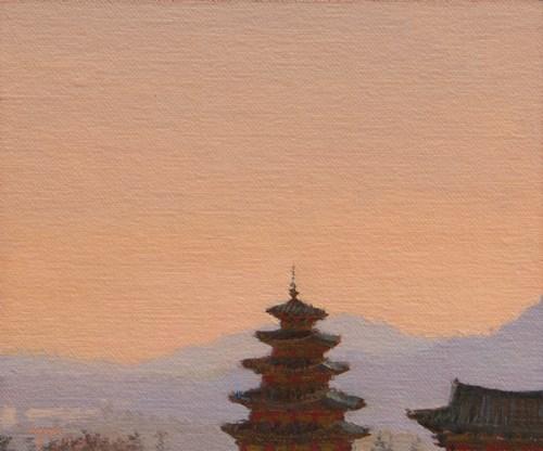 """Sunset and the National Folk Museum of Korea, Seoul (South Korea 2013 painting #2)"" original fine art by Abbey Ryan"