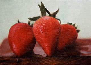"""Strawberries 2"" original fine art by Jonathan Aller"