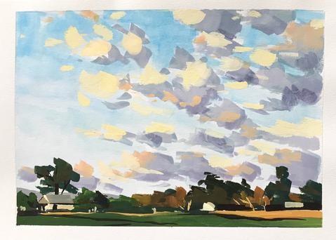 """Summer Sunset"" original fine art by Sharon Schock"