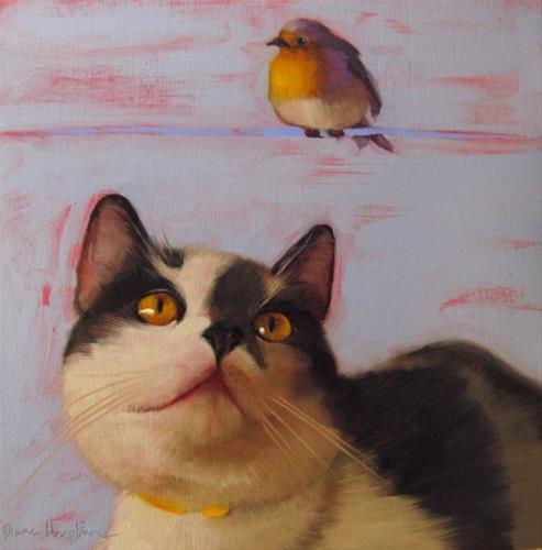 """Bird on a Blue Wire"" original fine art by Diane Hoeptner"