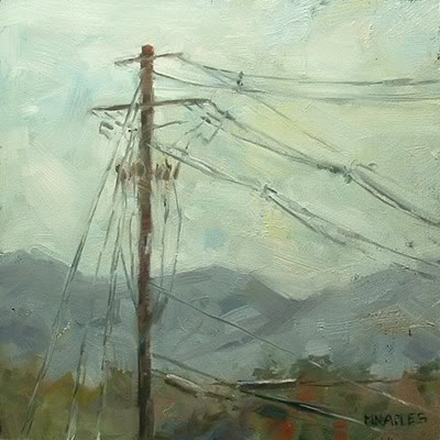 """""""Utility Pole with Mountains"""" original fine art by Michael Naples"""