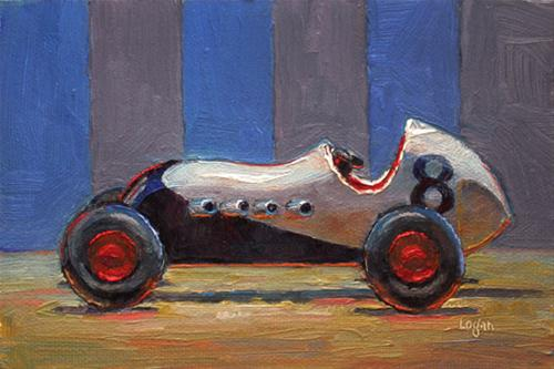 """""""Toy Roadsters / White & Red"""" original fine art by Raymond Logan"""