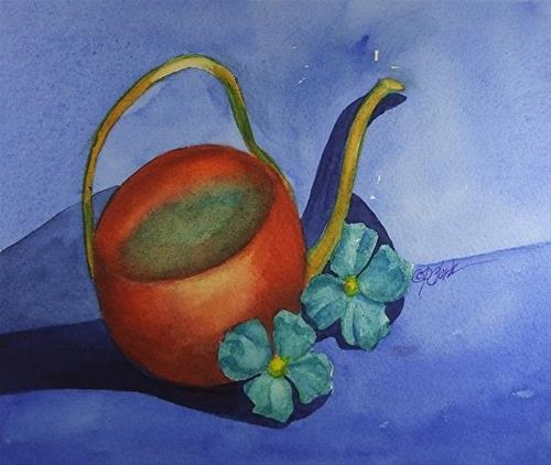 """Copper Watering Can, 8 x 10 Watercolor, Still Life"" original fine art by Donna Pierce-Clark"