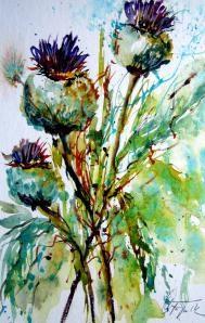 """""""Thistles – Disteln"""" original fine art by Christa Friedl"""