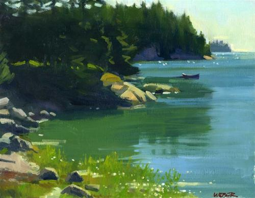 """""""Cove with canoe"""" original fine art by Kathy Weber"""