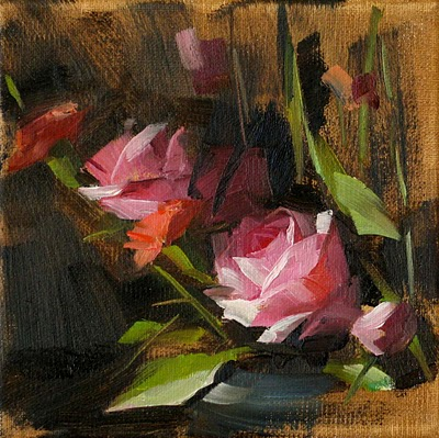 """Pink Roses --- Sold"" original fine art by Qiang Huang"