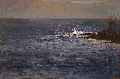 """Seascape with Green Light"" original fine art by Abbey Ryan"