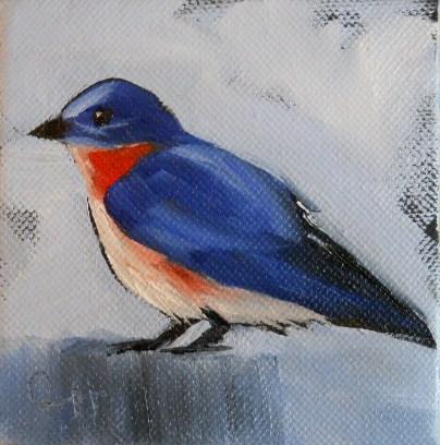 """""""Mr. Bluebird"""" original fine art by Claire Henning"""