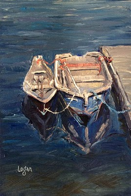"""Ventura Harbor Dinghies"" original fine art by Raymond Logan"