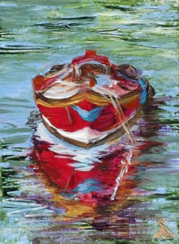 """3240 - LITTLE RED BOAT - ACEO Series"" original fine art by Sea Dean"