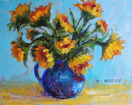 """Blue Pitcher with Sunflowers Contemporary Still Life by Arizona Artist Amy Whitehouse"" original fine art by Amy Whitehouse"