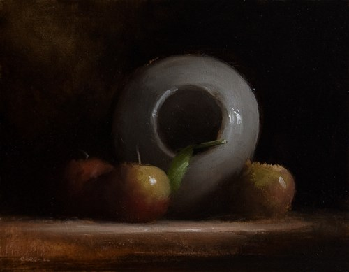 """Apples with Upturned Vase"" original fine art by Neil Carroll"