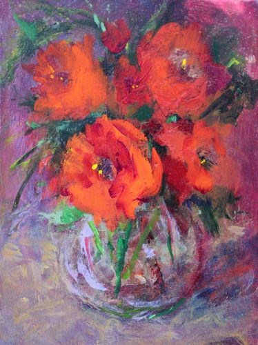 """""""Valentine's Bouquet Acrylic Painting on Canvas by Arizona Artist Amy Whitehouse"""" original fine art by Amy Whitehouse"""