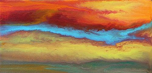 """""""Abstract Landscape,Sunset Art Painting Chasing Blue -Mini #1 by Colorado Contemporary Artist Kimbe"""" original fine art by Kimberly Conrad"""