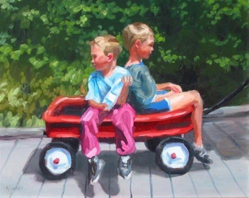 """""""Two Boys in a Wagon"""" original fine art by Susan N Jarvis"""