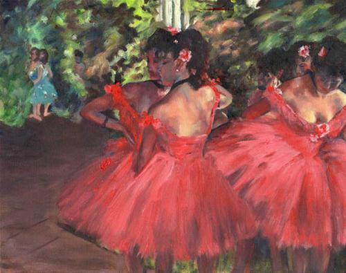 """Dancers in Pink, after Degas"" original fine art by Carmen Beecher"