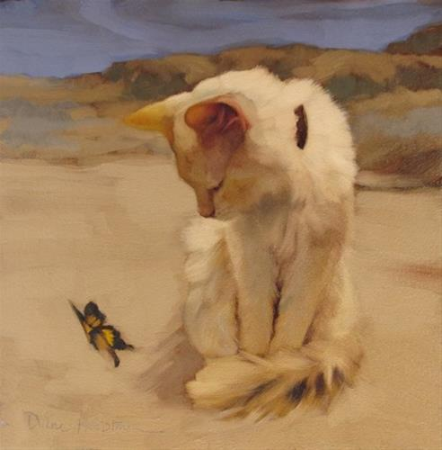 """""""Cat & Butterfly V & pictures from Gallery+ Debut"""" original fine art by Diane Hoeptner"""