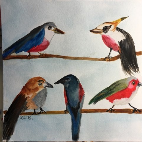 """Painting #1 The Birds"" original fine art by Kimberly Balentine"