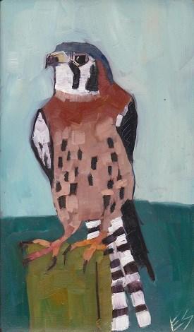 """""""Kestrel on Wooden Block"""" original fine art by Elizabeth See"""