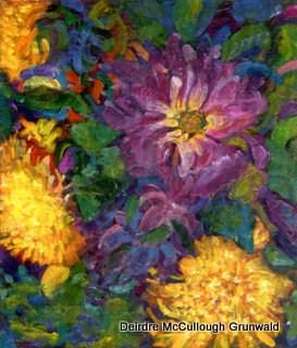 """""""Dahlias"""" original fine art by Deirdre McCullough Grunwald"""
