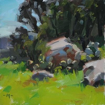 """Boulder Study"" original fine art by Carol Marine"