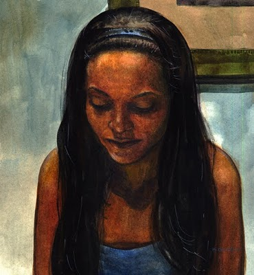 """""""Watercolor: Janea (and an engraving by Andy English)"""" original fine art by Belinda Del Pesco"""