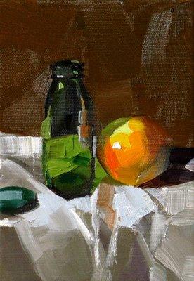 """Orange in Green Light --- Sold"" original fine art by Qiang Huang"