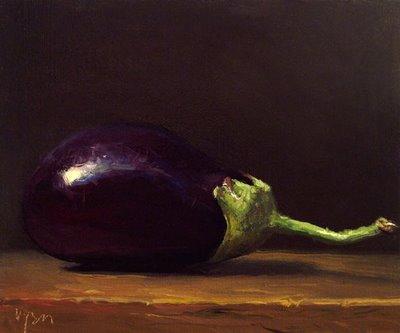 """Homegrown Eggplant No. 2"" original fine art by Abbey Ryan"