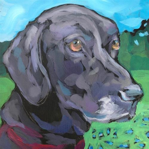 """July 4, Roxie!  All-American Lab-Mix!"" original fine art by Kat Corrigan"