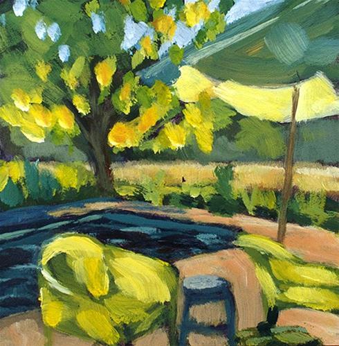 """Pool Chairs"" original fine art by J. Farnsworth"