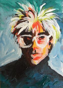 """2078 - Andy Warhole - ACEO Modern Icon Series"" original fine art by Sea Dean"