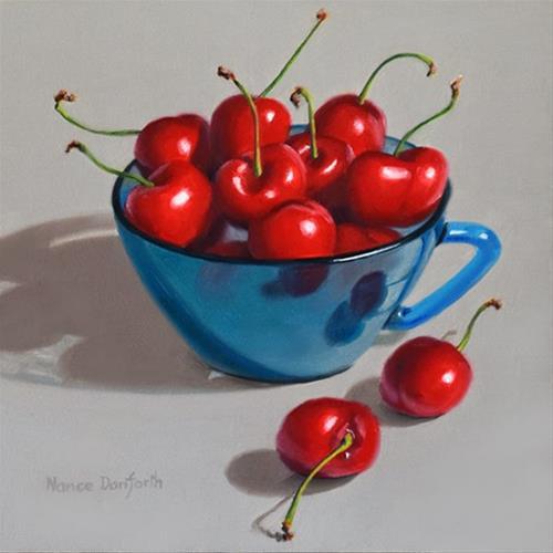 """Cherries In Blue Cup"" original fine art by Nance Danforth"