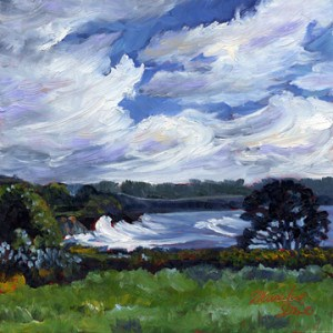 """""""Clouds over Ford House Field"""" original fine art by Mariko Irie"""