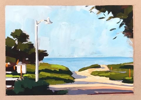 """Carpinteria Campground Beach Entrance"" original fine art by Sharon Schock"