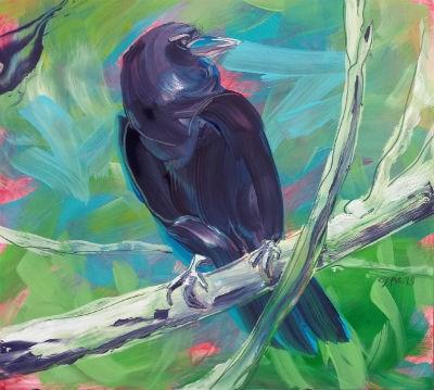 """""""Crow in the Tree 1"""" original fine art by Pam Van Londen"""
