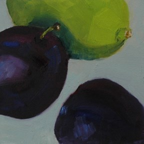"""TWO PLUMS AND A LIME"" original fine art by Linda Popple"