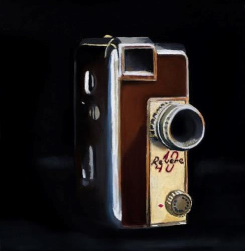 """Retro Movie Camera painting"" original fine art by Ria Hills"