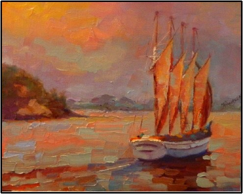 """""""Morning Whale Watch, 8x10, oil on canvas by MAryanne Jacobsen"""" original fine art by Maryanne Jacobsen"""