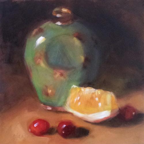 """Green Bottle and Orange Slice"" original fine art by Cindy Haase"